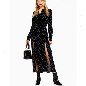 Topshop petite monochrome polka dot midi dress